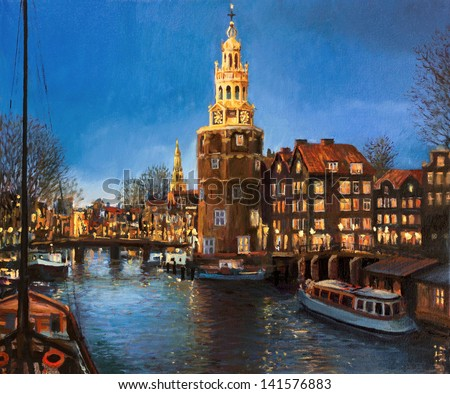 An oil painting on canvas of a peaceful panoramic evening view of Montelbaans Tower and the city lights reflecting in the canals of Amsterdam, Netherlands. Landscape carrying a sense of buzzing life. - stock photo