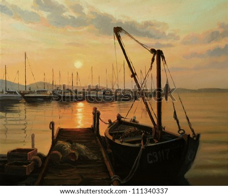 An oil painting on canvas of a romantic warm golden ocean sunset over the yacht harbor, with tranquil water surface, sun path and an old fishing boat tied to the pier. - stock photo