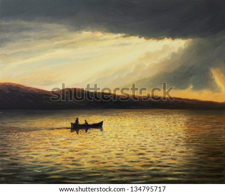 An oil painting on canvas of a tranquil summer seascape with a ray of sunshine found its way through the clouds of a summer storm, illuminating the landscape in bright colors. - stock photo