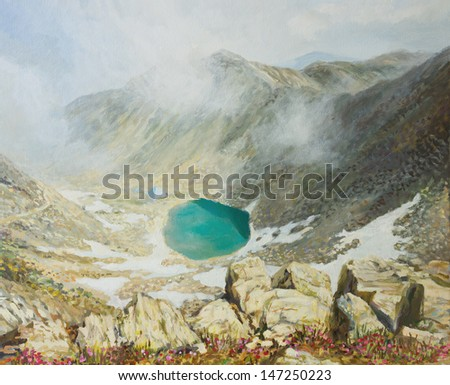 An oil painting on canvas of the highest peak in Bulgaria Musala on mountain Rila with a crystal clear glacier lake at the bottom of the rocky ridge in a bright sunny day. - stock photo