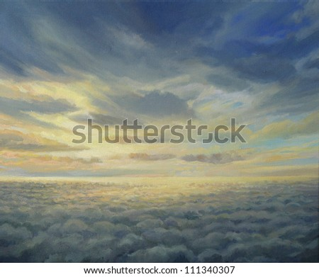 An oil painting on canvas representing an early flight home with a beautiful vivid sunrise in a high sky altitude above clouds. - stock photo