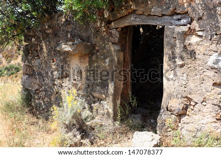an old abandoned farmhouse - countryside corsica - stock photo