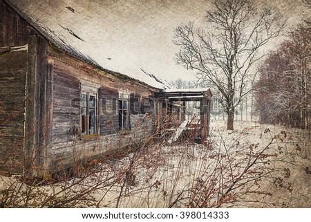 An old abandoned house. Vintage Style Photography. - stock photo
