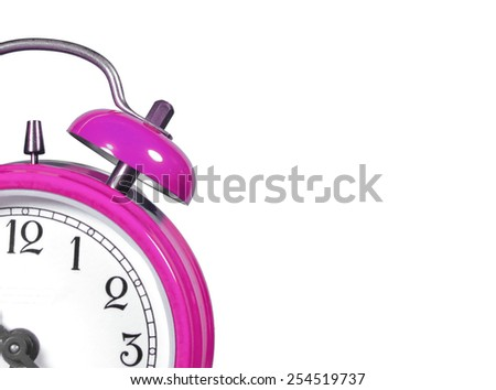 an old alarm clock old pink - stock photo