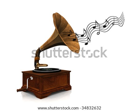 An old antique gramophone with notes coming out from it symbolizing that it's playing music. - stock photo