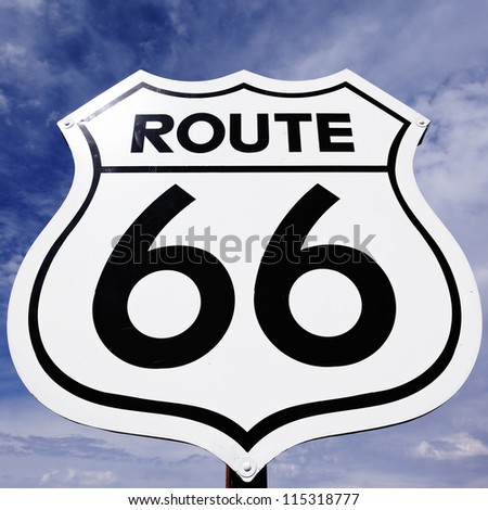 An old, antique, nostalgic route 66 sign - stock photo