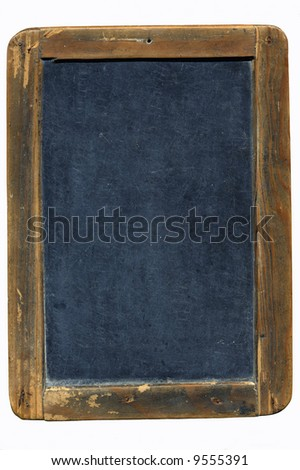 an old blackboard with soft shadow on white background - stock photo
