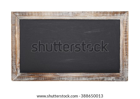 An old blank chalkboard isolated on white background - stock photo