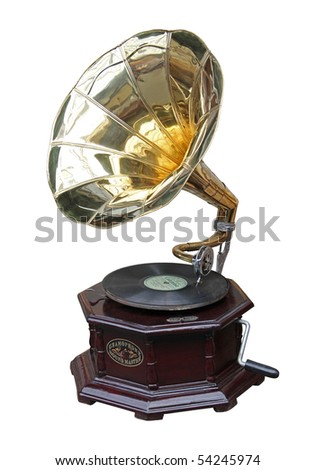 An old brass horn gramophone and record. - stock photo