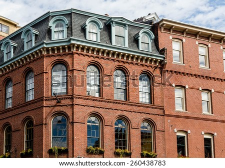 An old brick building in Portland, Maine - stock photo