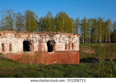 An old brick fort in Bobrujsk in Belarus  - stock photo