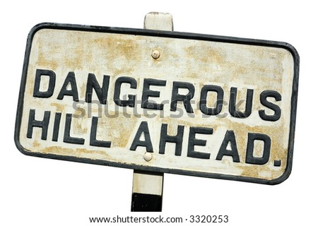 An old, cast-iron warning sign, isolated on white (with clipping path) - stock photo