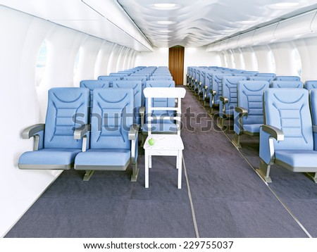 an old chair in the aircraft cabin. 3d concept - stock photo