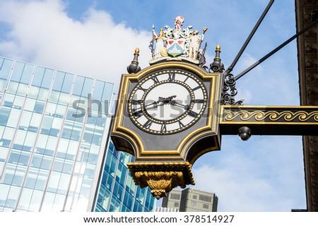 An old classic London street clock, London, UK - stock photo