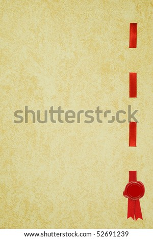 An old Diploma page with a red ribbon and wax seal - stock photo