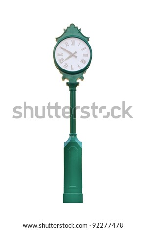 An old exterior clock on white - stock photo