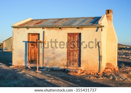 An old farm worker house on a farm near Kenhardt in the Northern Cape Province of South Africa - stock photo