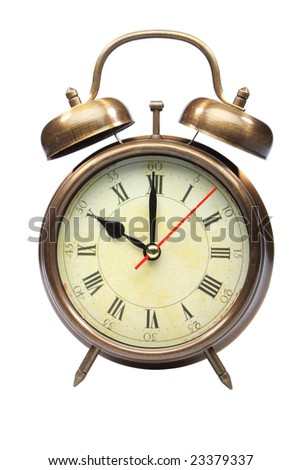 An old fashioned alarm clock at ten oclock part 11 of 12 - stock photo