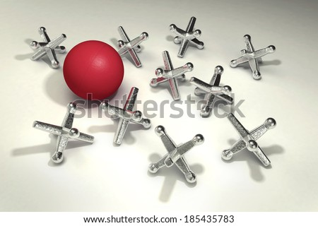 An old fashioned kids playground game of jacks - stock photo