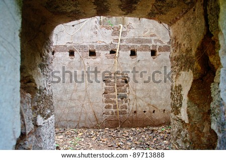 an old fortress in the jungle - stock photo