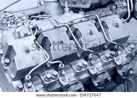 an old four cycle internal combustion engine - stock photo