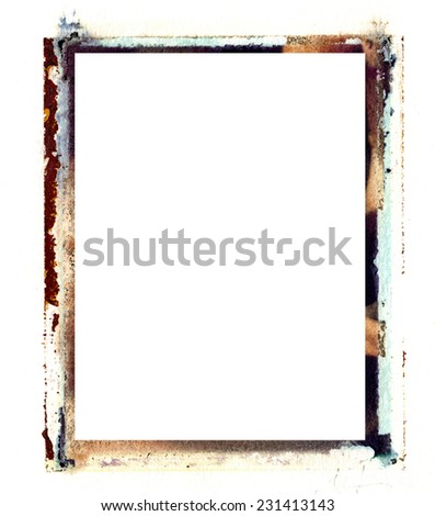 An old grungy polaroid transfer border can be used for any type of art and photo outline both vertical and horizontal. It adds texture and character to any project.  - stock photo