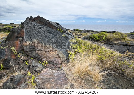 An old Hawaiian lava flow shows its age by the rusted section of rock, most likely from the later or early 1900's.L - stock photo