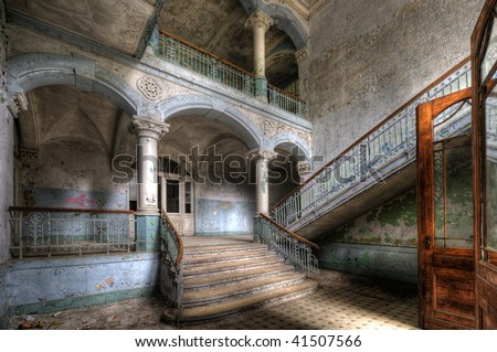 An old hospital for lung diseases in Beelitz near Berlin in the former soviet occupation area - abandoned since 1992. - stock photo