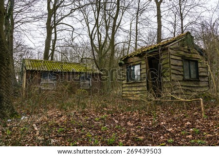 An old house in an abandoned zoo. - stock photo