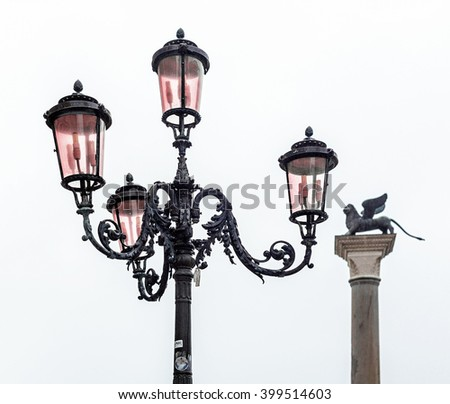 An old lantern on the San Marco square - Venice, Italy - stock photo