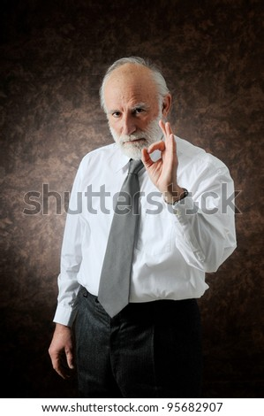 an old man showing everything it's ok! - stock photo
