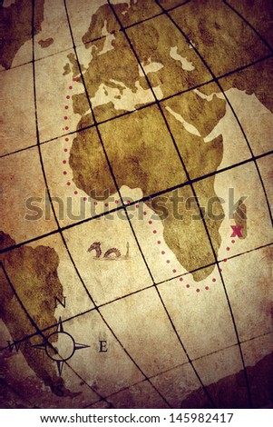 An old map showing the location of a hidden pirate treasure - stock photo