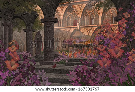 An old Monastery courtyard garden, with flowers, statue and fountain. / Old Monastery Garden Courtyard - stock photo