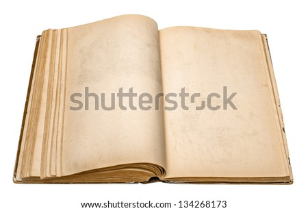 an old open book on white background - stock photo