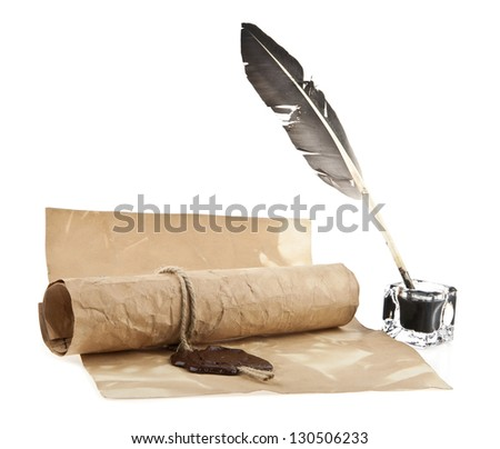 an old paper and ink-pot with a feather is isolated a white background - stock photo