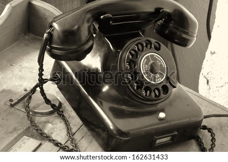 an old phone in the Technik Museum in Magdeburg - stock photo