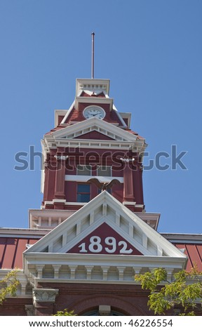 An old red courthouse built in 1892 - stock photo
