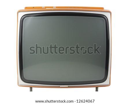 an old retro black television - stock photo