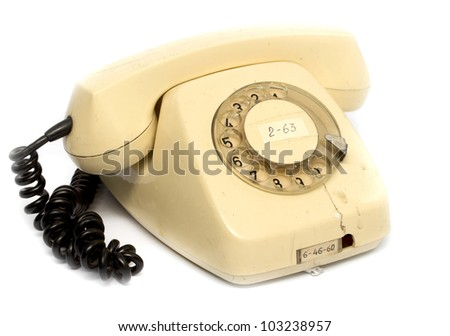 an old rotary phone handset - stock photo