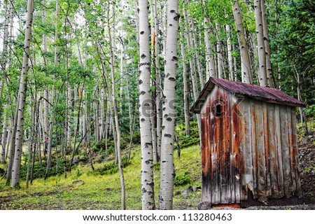 An old, rundown outhouse sits among a forest of Aspen trees in the Colorado mountains - a remnant of a Colorado ghost town. - stock photo