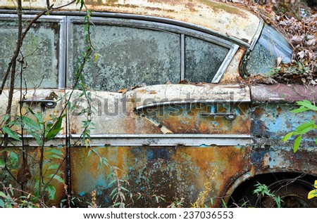 An old rusted out scrap car that has been abandoned in the woods  - stock photo