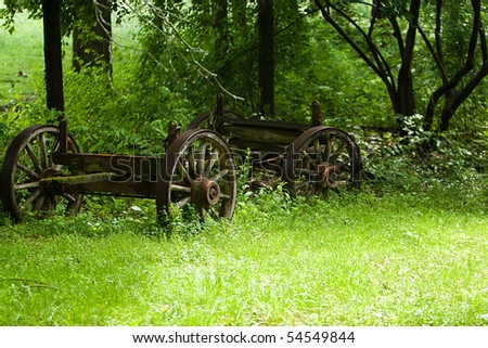 An old rusty four wheel wagon in a field of grass - stock photo