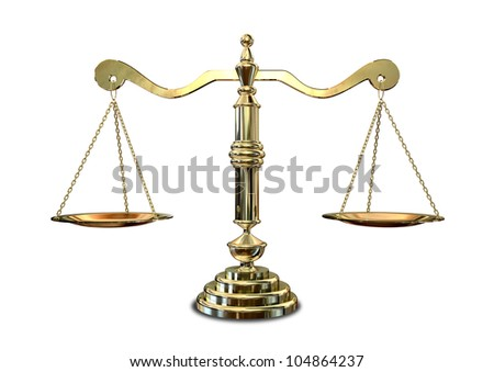 An old school gold justice scale - stock photo