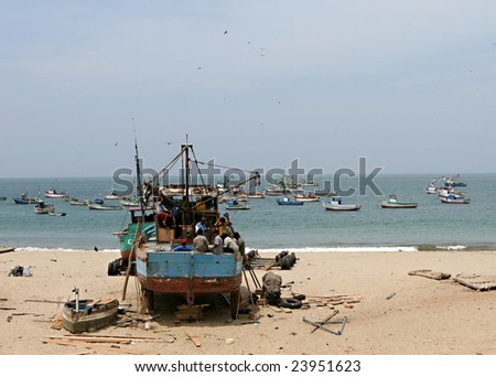 An old shipyard on the beach of Peru, South America - stock photo