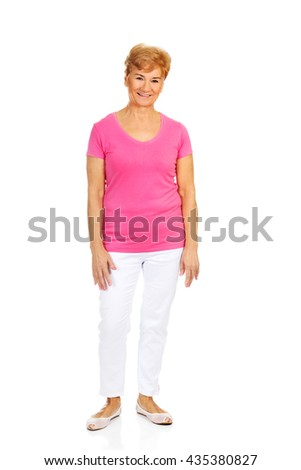 An old smiling charming woman - stock photo