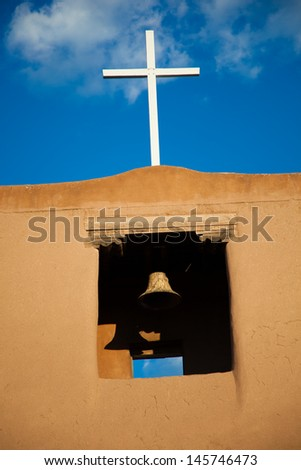An old Spanish Mission in Santa Fe, New Mexico - stock photo