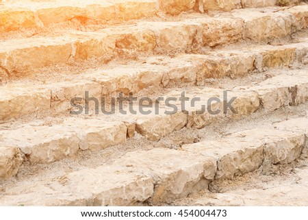 An old stone staircase. Steps closeup - stock photo