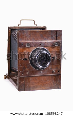 an old studio camera, on a white background - stock photo