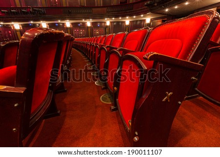 an old theater auditorium, interior - stock photo