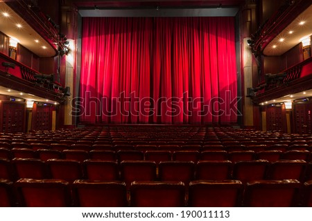 an old theater auditorium, interior - stock photo